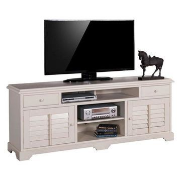 Vintage White TV Console With Shutters, 78