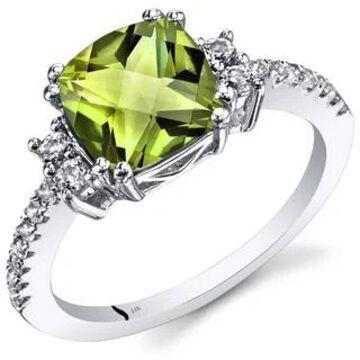 Oravo 14k White Gold Cushion Checkerboard Gemstone Ring (Green - 6 - Peridot)