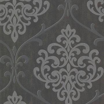 Kenneth James Sparkle 56-sq ft Charcoal Non-Woven Damask Unpasted Wallpaper in Gray   2542-20718