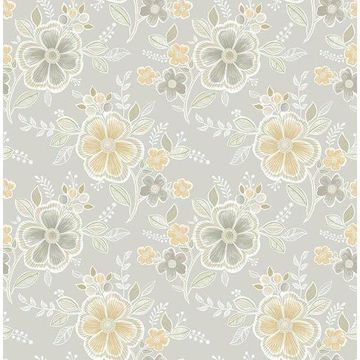 Brewster 2657-22204 Chloe Honey Floral Wallpaper