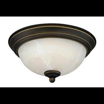 Vaxcel Lighting C0074 Builder 1 Light Flush Mount Indoor Ceiling Fixture with White Alabaster Glass Shade - 11 Inches Wide Vintage Bronze Indoor