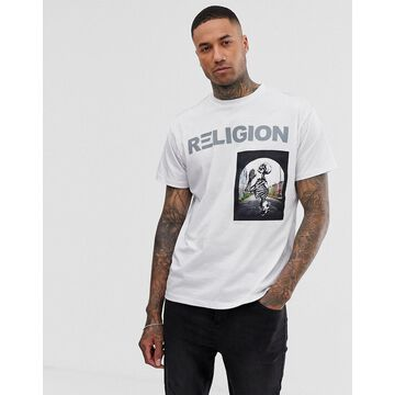 Religion t-shirt with skeleton patch in white