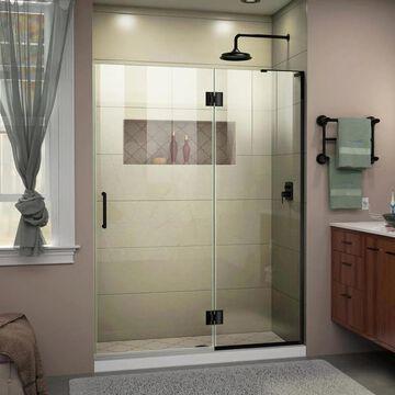 DreamLine Unidoor-X 72-in H x 51-in W Frameless Hinged Satin Black Shower Door (Clear Glass) | D32772R-09