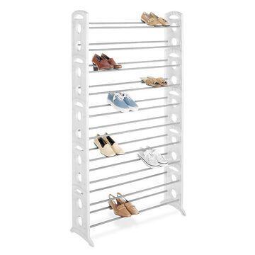 Whitmor 50-Pair Floor Shoe Rack, White