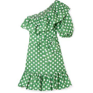 Lisa Marie Fernandez - Arden Ruffled One-shoulder Polka-dot Linen Mini Dress - Green