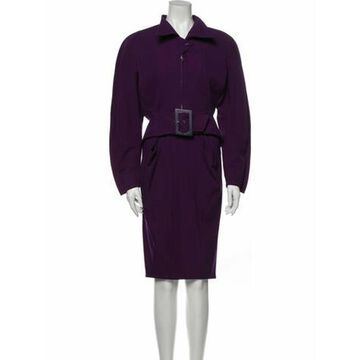 Vintage Purple Abstract Skirt Suit Purple