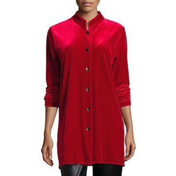 Plus Size Mandarin-Collar Velvet Shirt