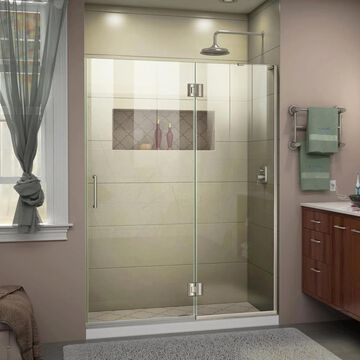 DreamLine Unidoor-X 72-in H x 51-in W Frameless Hinged Brushed Nickel Shower Door (Clear Glass) | D32772R-04
