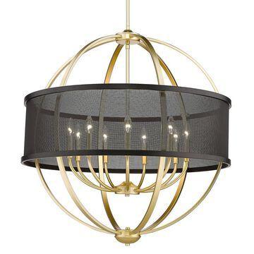 Golden Lighting Colson 9-Light Olympic Gold Farmhouse Chandelier   3167-9 OG-BLK