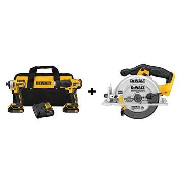 DEWALT 2-Tool 20V MAX LI-ION Cordless Brushless Drill/Driver Power Tool Combo Kit (Charger Included and (2) 1.3Ah Batteries Included) + 20V MAX