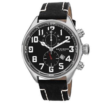 Akribos XXIV Men's Quartz Chronograph Leather Silver-Tone Strap Watch (Silver-tone/Black)