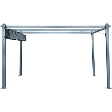 Hanover Hanover 12-ft 6-in W x 9-ft 8-in L x 7-ft 3-in Dark Gray Metal Freestanding Pergola with Canopy Polyester | HANPERG13X10-GRY