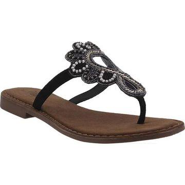 Azura Women's Romelia Thong Sandal Black Leather/Suede