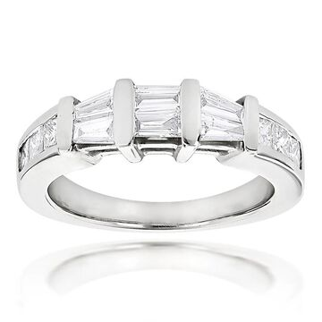 Luxurman Princess Cut and Baguette Diamond Wedding Band 0.9ct 14K (Yellow - 7.5)