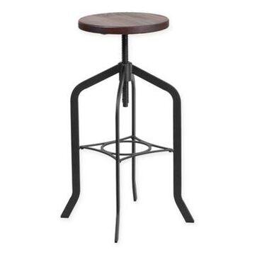 Flash Furniture Lift Wood Seat Swivel Bar Stool in Black/Brown