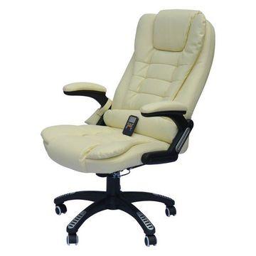 HomCom Executive Ergonomic Heated Vibrating Massaging Office Chair, Cream