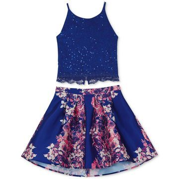 2-Pc. Lace Camisole & Floral-Print Skirt Set, Big Girls