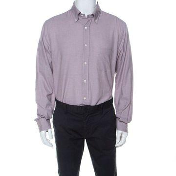 Loro Piana Purple Mini Houndstooth Brushed Cotton Button Up Alfred Shirt XL