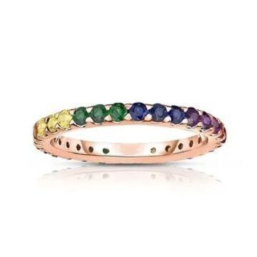 14K Gold Rainbow Multicolor Sapphire Eternity Ring by Noray Designs