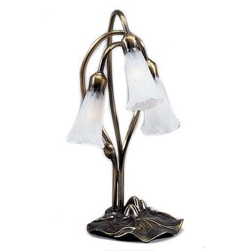 15282 Lily 3 Light Accent Lamp with Shades - White