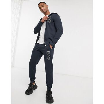 Armani EA7 Visibility large logo french terry zip thru tracksuit in navy