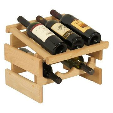 Wooden Mallet 6 Bottle Dakota Wine Rack With Display Top Unfinished