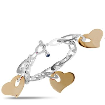 Roberto Coin White and Rose Gold Blue Sapphire Heart Charm Chain Bracelet