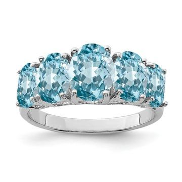 Sterling Silver Rhodium-plated Light Swiss Blue Topaz 5 Stone Ring by Versil (8)
