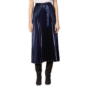 Sandro Yoona Metallic Pleated Midi Skirt