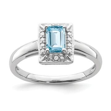 Sterling Silver Rhodium-plated Light Swiss Blue Topaz and Diamond Ring by Versil (8)
