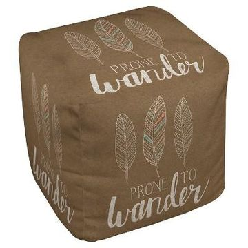 Taupe Brown Prone To Wander Pouf (18