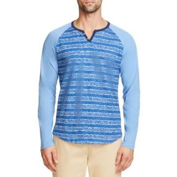 Tallia Men's Slim Fit Stripe Print Henley T-shirt and a Free Face Mask