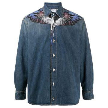 Wings long-sleeve denim shirt