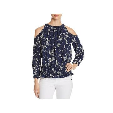 Cupio Womens Blouse Cold Shoulder Smocked