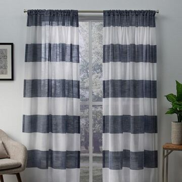 Exclusive Home 2-pack Darma Sheer Linen Rod Pocket Window Curtains
