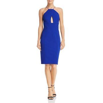 Aidan Mattox Womens Halter Crepe Party Dress