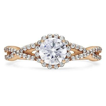 TwoBirch 10k Gold Cubic Zirconia Infinity Halo Engagement Ring