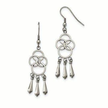 Primal Steel Stainless Steel Polished Dangle Shepherd Hook Earrings