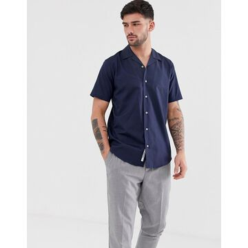 Only & Sons oxford shirt with revere collar in navy