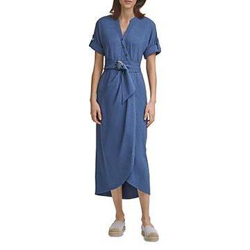 Karl Lagerfeld Paris Knit Faux Wrap Dress