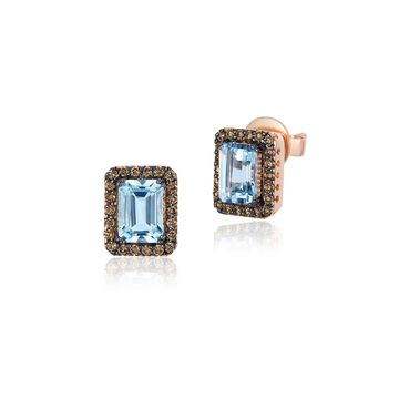 Le Vian Chocolatier Aquamarine, Diamond & 14k Strawberry Gold Earrings