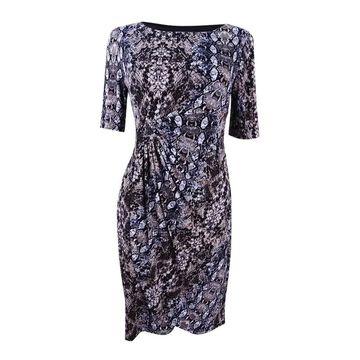 Connected Women's Petite Printed Sarong Dress - Black