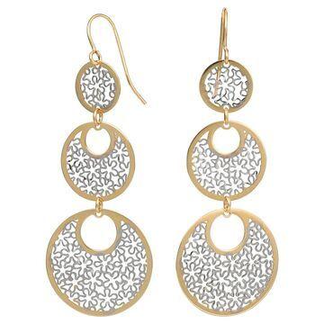 Fremada 10k Two-tone Gold Floral Cut-outs On Graduated Circles Dangle Earrings (Triple two-tone dangle earrings)