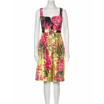 Floral Print Knee-Length Dress Pink