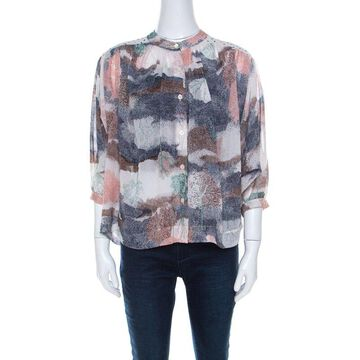 See by Chloe Multicolor Georgette Abstract Print Oversized Blouse M