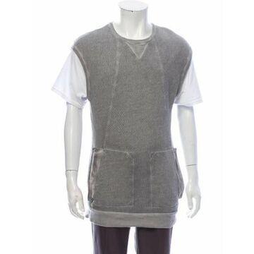 Crew Neck Short Sleeve Sweater Vest Grey