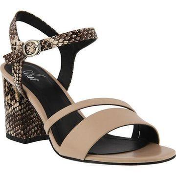 Azura Women's Kleora Vegan Heeled Sandal Beige Snake Print Vegan