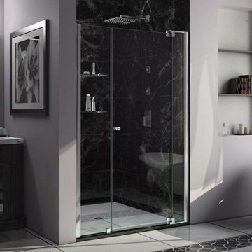 DreamLine 50 to 60, Frameless Pivot Shower Door, Clear Glass Door