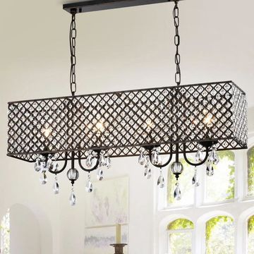 Warehouse of Tiffany Aruna Antique Copper Metal 4-Light Chandelier with Crystals