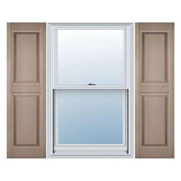 Builders Edge, Standard Two Equal Panels, Raised Panel Shutters, Wicker